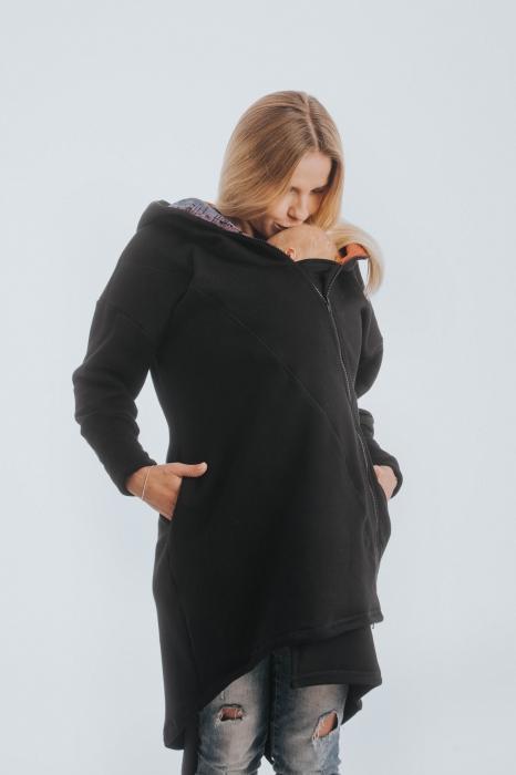 Hanorac hoodie Babywearing Black Simphony Rainbow Dark- marime XL + CADOU Surpriza [0]