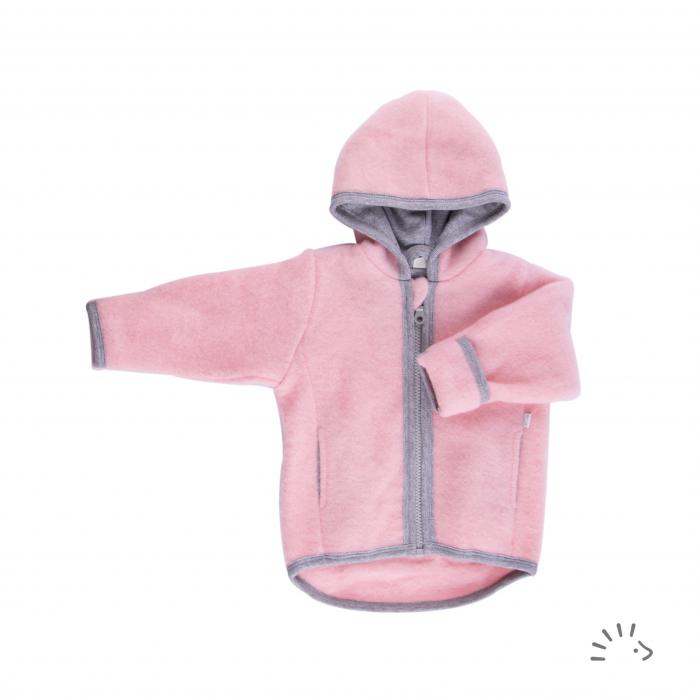 Jacheta din lana merino organica fleece cu fermoar si buzunare- Milo Rose Pink [0]