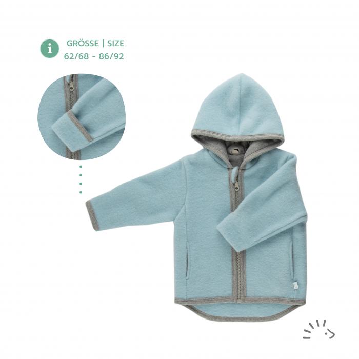 Jacheta din lana merino organica fleece cu fermoar si buzunare- Milo Ice Blue [0]