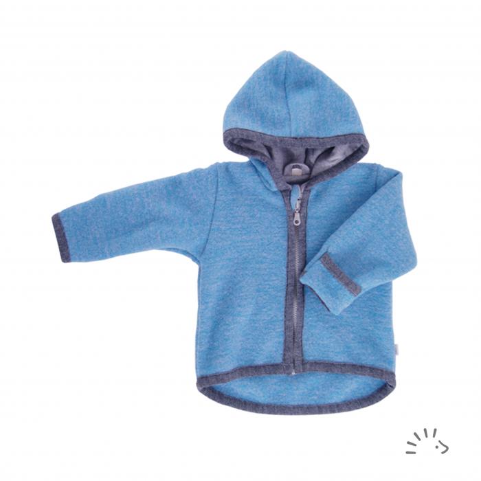 Jacheta din lana merino organica fleece cu fermoar- Provence Blue [0]