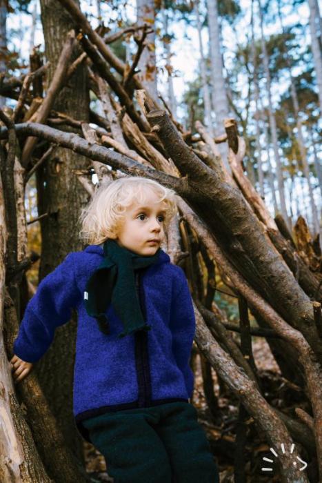 Jacheta din lana merino organica tumbled cu fermoar si buzunare- Indigo [1]