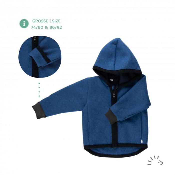 Jacheta din lana merino organica tumbled cu fermoar si buzunare- Indigo [0]