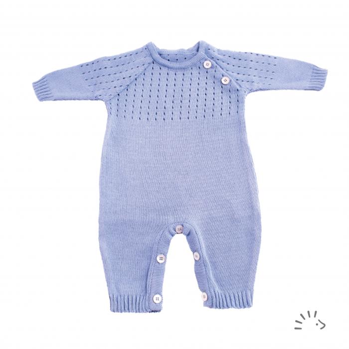 Overall Morgan din bumbac organic tricotat- Stone Blue [0]