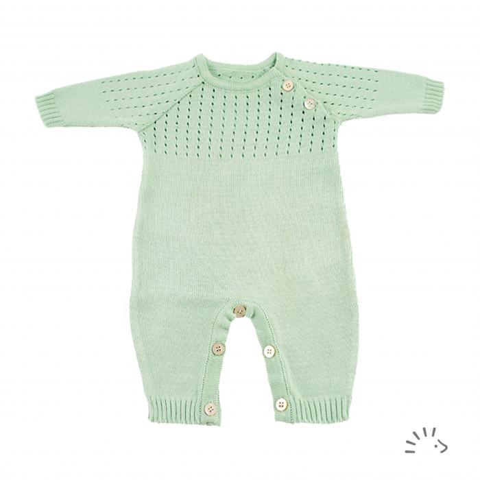 Overall Morgan din bumbac organic tricotat- Mint [0]