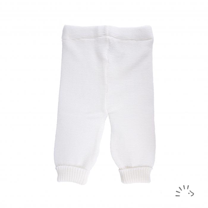Pantaloni lana merinos organica impletita- Ecru [0]