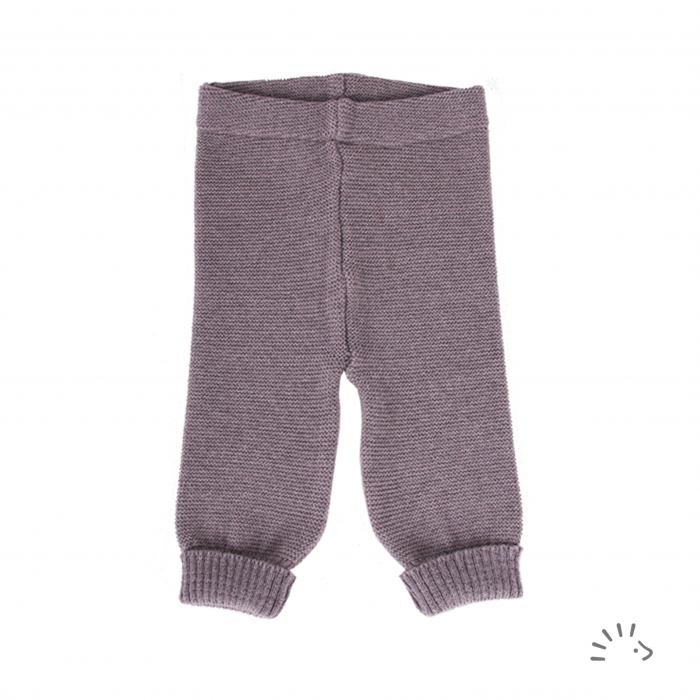 Pantaloni lana merinos organica impletita- Brown [0]
