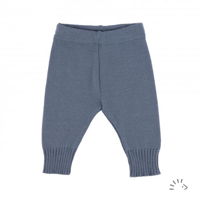 Pantaloni lana merinos organica impletita- Grey Blue [0]