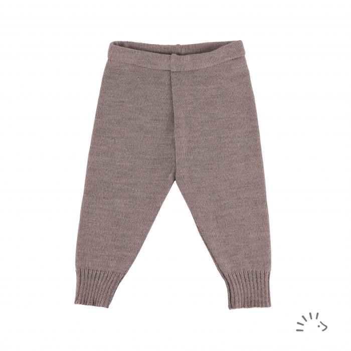 Pantaloni lana merinos organica impletita- Beige Melange [0]