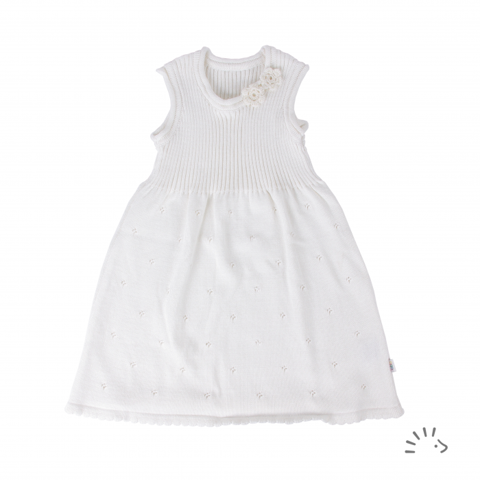 Rochie Lina din bumbac organic tricotat- White [0]
