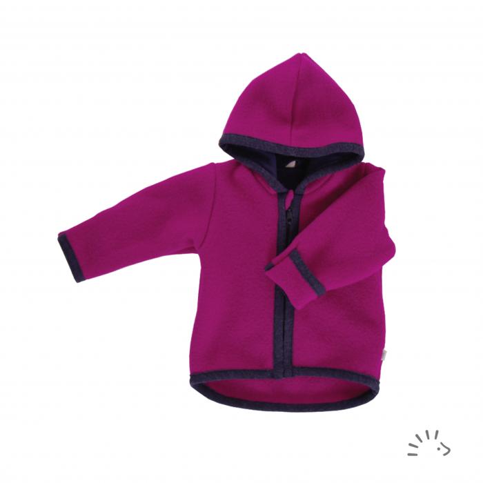Jacheta din lana merino organica fleece cu fermoar- Viola [0]