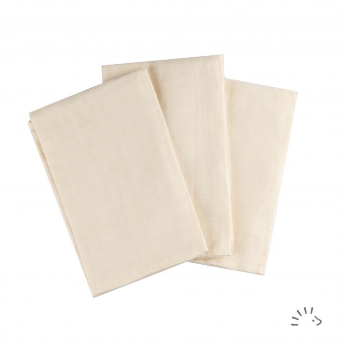 Set 3 pleduri muselina organica 70x70 cm- Ecru [0]