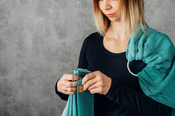 Sling cu inele LennyLamb Little Herringbone Turquoise [7]