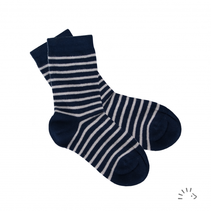 Sosete subtiri pentru bebelusi- Dark Blue Stripped [0]