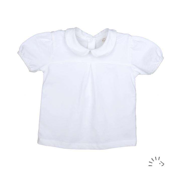 Bluza din bumbac organic, cu guleras- Iobio Popolini - Ida White [0]