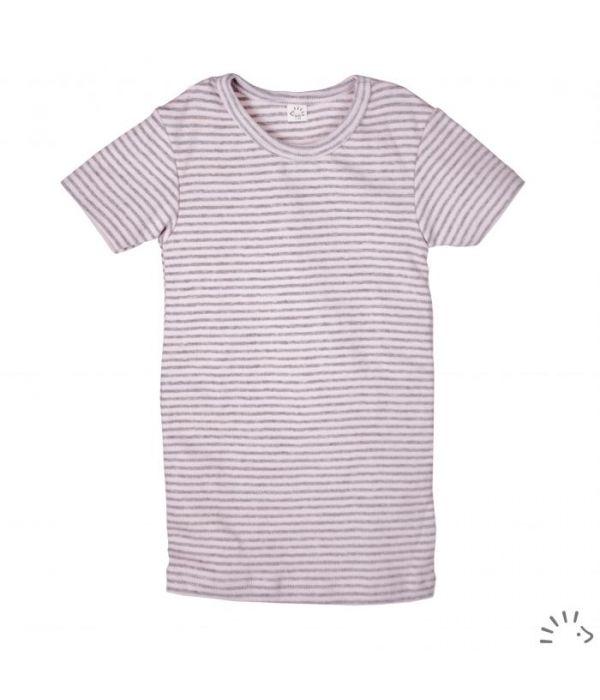 Tricou fin din bumbac organic basic- Rose Grey striped [0]