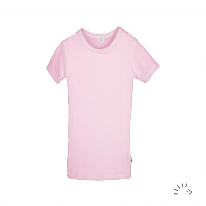 Tricou fin lana merinos si matase- Rose Pink [0]