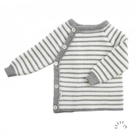 Bluza lana merinos organica tricotata Kimono - Ecru/Grey [0]