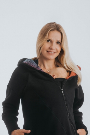 Hanorac hoodie Babywearing Black Simphony Rainbow Dark- marime M + CADOU Surpriza [2]