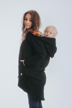 Hanorac hoodie Babywearing Black Simphony Rainbow Dark- marime M + CADOU Surpriza [3]