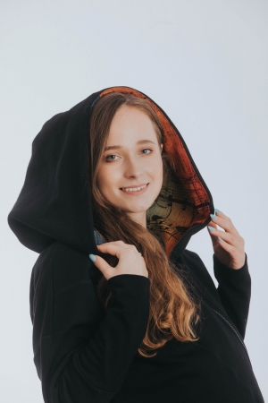 Hanorac hoodie Babywearing Black Simphony Rainbow Dark- marime XL + CADOU Surpriza [5]