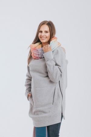 Hanorac hoodie Babywearing Grey Simphony Rainbow Light- marime M [6]