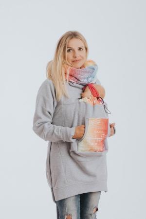 Hanorac hoodie Babywearing Grey Simphony Rainbow Light- marime M [0]