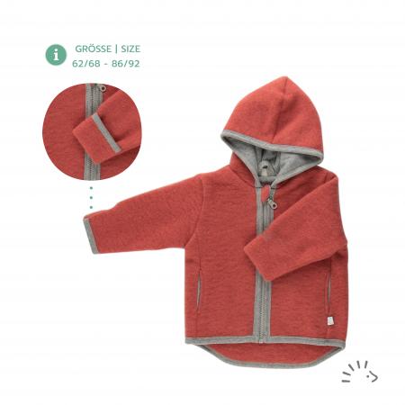 Jacheta din lana merino organica fleece cu fermoar si buzunare- Milo Vintagered [0]