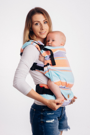 Marsupiu LennyGo Baby Size Little Herringbone Mandarin Heaven [3]