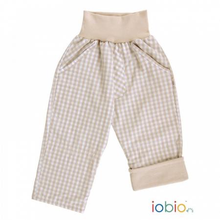 Pantaloni din bumbac organic- Iobio Popolini- Palermo Karo Sand Blue [1]
