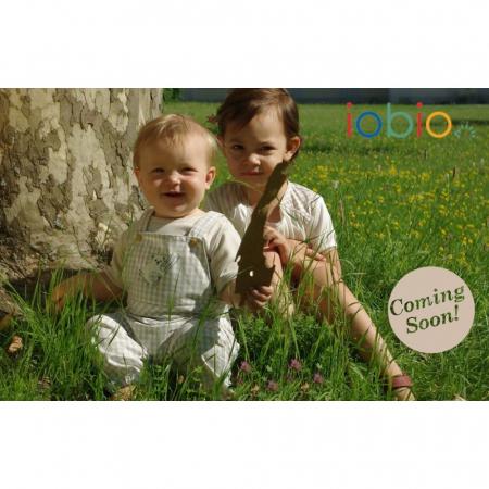 Salopeta de vara/baby romper din bumbac organic- Iobio Popolini - Farmer Sand Blue [3]