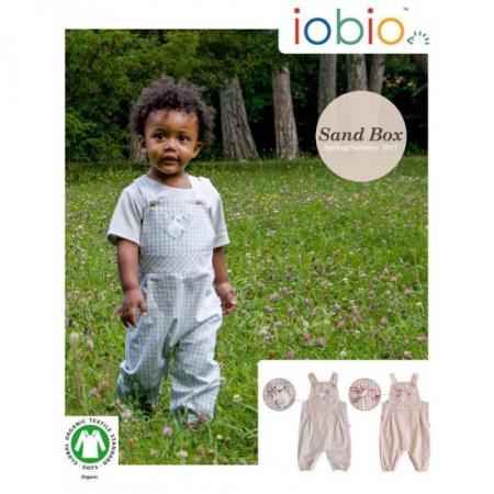 Salopeta de vara/baby romper din bumbac organic- Iobio Popolini - Farmer Sand Blue [2]