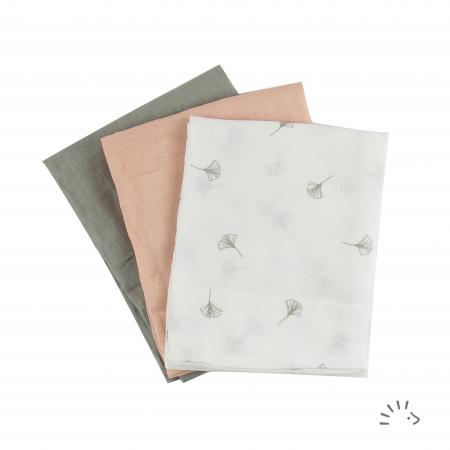 Set 3 pleduri muselina organica 70x70 cm- Soft Ginko [0]