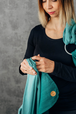 Sling cu inele LennyLamb Little Herringbone Turquoise [6]