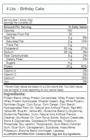 EVLution Nutrition Stacked Protein 1.82 kg facts
