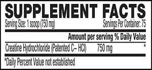 Kaged Muscle CREATINE HCl Powder 75serv 750 mg facts