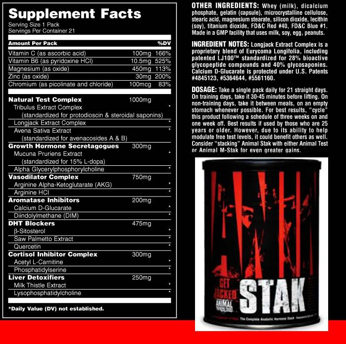 Universal Nutrition Animal Stak 21 facts