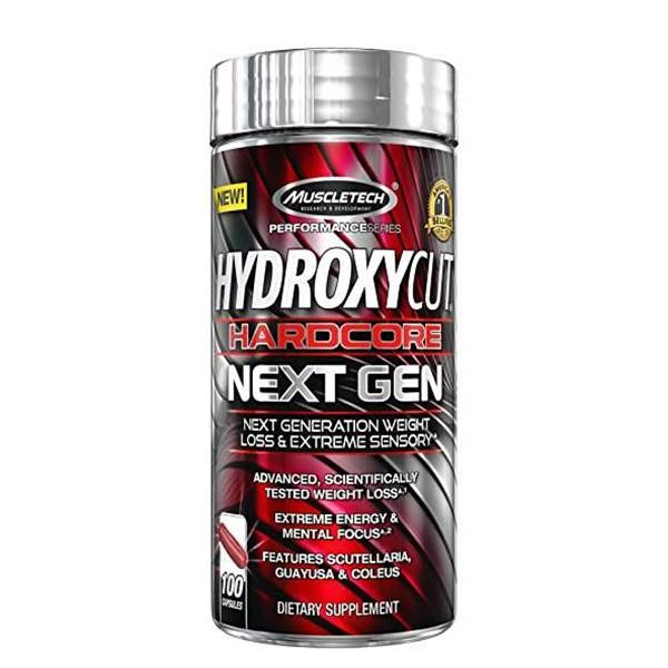 Muscletech Hydroxycut HardCore Next Gen 100 Red caps USA pastile rosii 0