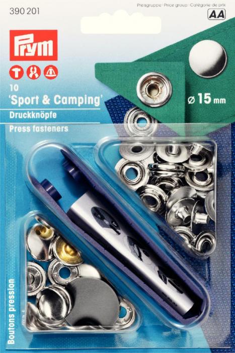 Set capse metalice Sport si Camping PRYM, 15 mm, argintiu [0]