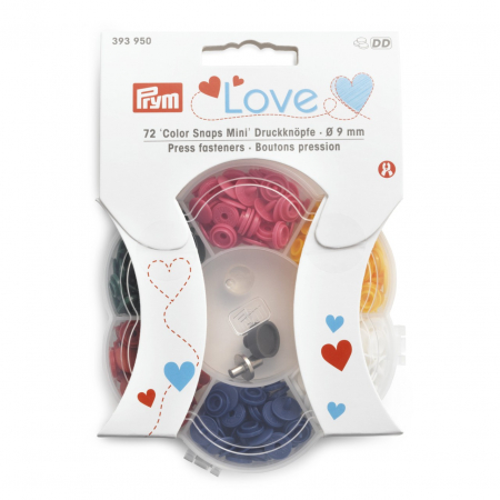 Set 72 capse plastic PRYM Love Color Snaps Mini diametru 9 mm si poanson 9 mm0