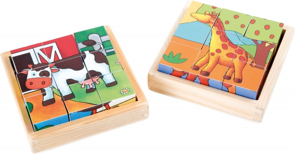 Cuburi puzzle Zoo-Ferma Set de 2 0