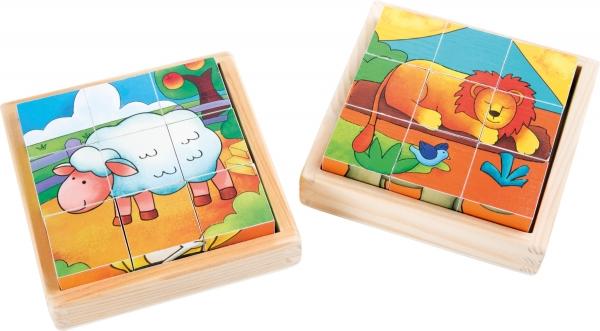 Cuburi puzzle Zoo-Ferma Set de 2 2