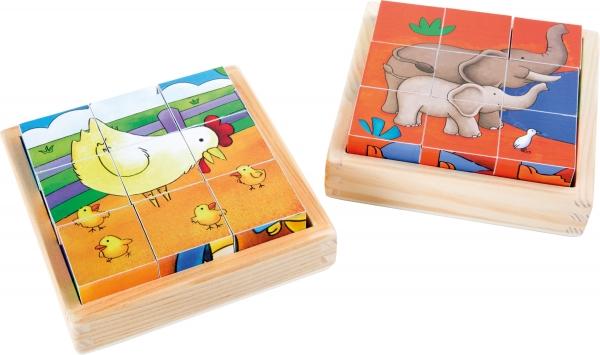Cuburi puzzle Zoo-Ferma Set de 2 4