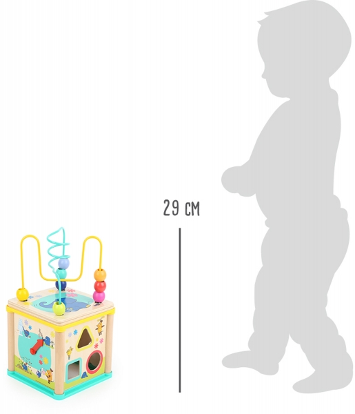 Cub din lemn cu 5 activitati educative Elefant si Soricel 5