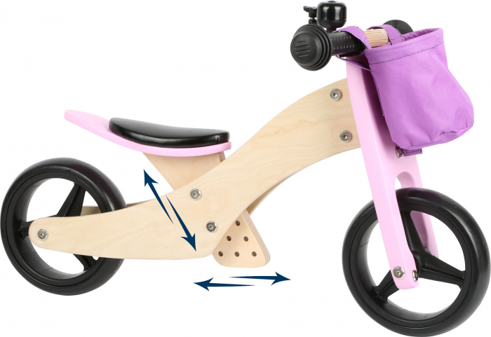 2 in 1 Tricicleta si Bicicleta de echilibru din lemn, Mov 1