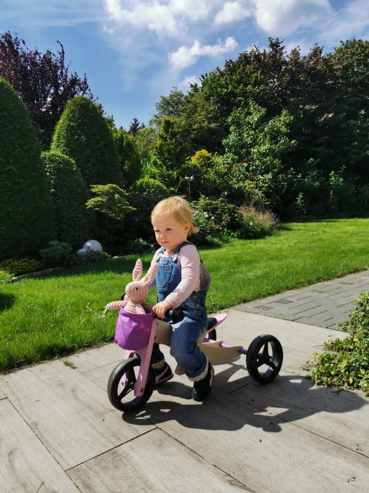 2 in 1 Tricicleta si Bicicleta de echilibru din lemn, Mov 2