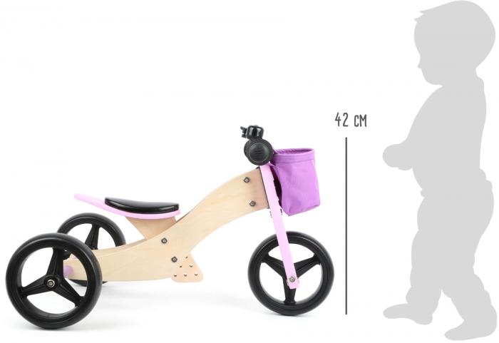 2 in 1 Tricicleta si Bicicleta de echilibru din lemn, Mov 3