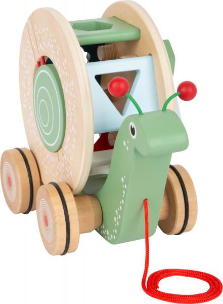 Melcul intelept, jucarie educativa si de tras, din lemn 6