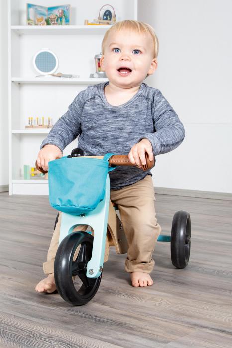 2 in 1 Tricicleta si Bicicleta de echilibru din lemn, Albastru 3