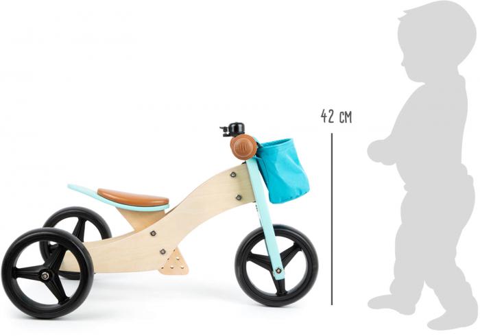 2 in 1 Tricicleta si Bicicleta de echilibru din lemn, Albastru 4