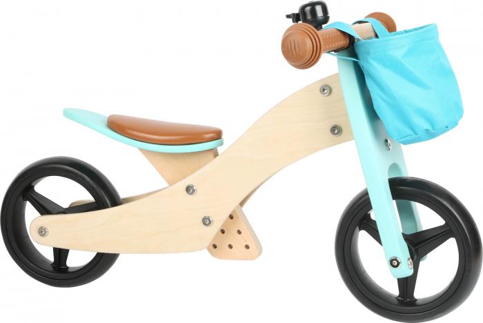 2 in 1 Tricicleta si Bicicleta de echilibru din lemn, Albastru 2
